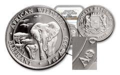 2015 1-oz Silver Elephant Mule NGC-MS70