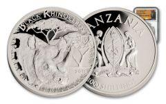 2016 Tanzania 1-oz Silver Serengeti Big 5 Black Rhino NGC PF70