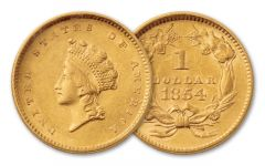 1854-1856 1 Dollar Gold Indian Type II BU