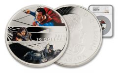 2016 Canada 30 Dollar 2-oz Silver Batman vs Superman Trinity NGC PF69