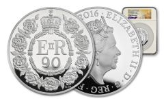 2016 Great Britain 10 Pound 5-oz Silver Queen Elizabeth II 90th Birthday NGC PF70UCAM First Struck