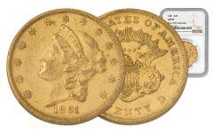 1861-P 20 Dollar Gold Liberty NGC AU55 Rive d'Or