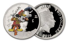 2016 Niue $2 1-oz Silver Disney Mickey the Band Concert Proof