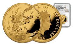 2016 Niue 250 Dollar 1-oz Gold Mickey The Band Concert NGC PF70UCAM