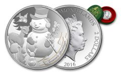 2016 Solomon Islands 2 Dollar 1-oz Silver A Very Vintage Christmas Snowman Proof-Like