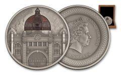 2015 Cook Islands 10 Dollar 2-oz Silver Flinders Street Station Antique
