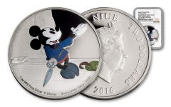 2016 Niue 2 Dollar 1-oz Silver Mickey Brave Little Tailor NGC PF69UCAM
