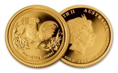 2017 Australia 15 Dollar 1/10-oz Gold Year of the Rooster BU Lunar Series II