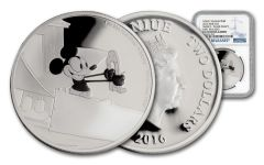 2016 Niue $2 1-oz Silver Disney Mickey Plane Crazy NGC PF70UC First Releases