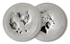 2017 Australia $1 1-oz Silver Lunar Coin Series II Year of the Rooster BU