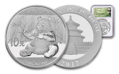 2017 China 30-Gram Silver Panda NGC MS69 Early Release Panda Label
