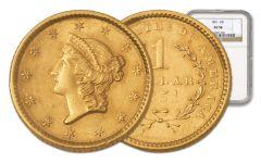 1849-1854 1 Dollar Gold Liberty Type 1 NGC/PCGS AU58