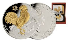 2017 Niue 8 Dollar 5-oz Silver with Gold Lunar Rooster Proof