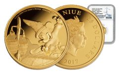 2017 Niue $25 1/4-oz Gold Disney Mickey Fantasia NGC PF70UC First Releases