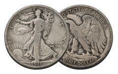 1916 50 Cent Silver Walking Liberty G-VG