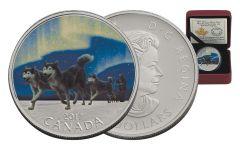 2017 Canada 10 Dollar Silver Dog Sledding Northern Lights Proof