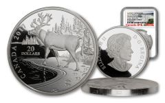 2017 Canada $20 One-Ounce Silver Nature's Impression Woodland Caribou NGC PF69UC Early Releases