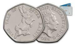 UK 2017 50p SILVER BEATRIX POTTER PETER RABBITBU