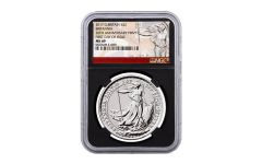 2017 Great Britain 1-oz Silver Britannia 20th Anniversary NGC MS69 First Day of Issue w/Black Core