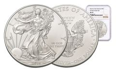 2016-S 1 Dollar 1-oz Silver Eagle NGC MS70 Brown Label