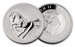 2017 Australia 1 Dollar 1-oz Silver Stock Horse Brilliant Uncirculated