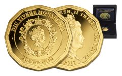 2017 Tristan da Cuhna 1/4-oz 12-Sided Gold Sovereign Proof
