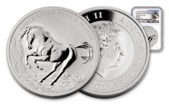 2017 Australia 1 Dollar 1-oz Silver Stock Horse NGC MS69 First Releases