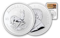 2017 South Africa Silver Krugerrand NGC Gem Uncirculated- Springbok at Sunset Label