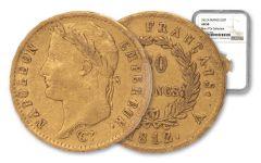 Paris France 1812-A 20 Francs Gold Napoleon I Rive d'Or Hoard NGC AU50