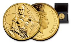 2017 Niue 250 Dollar 1-oz Gold Star Wars Classic C-3PO Proof