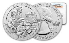 2017-P 25 Cent 5-oz Silver America The Beautiful Ellis Island NGC SP70