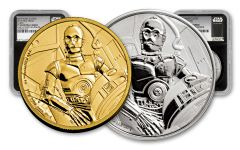 2017 Niue Star Wars Classic C-3PO NGC PF69UCAM First Struck 2pc Set