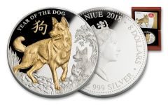 2018 Niue 5 Ounce $5 Year of the Dog Gilded Silver Proof