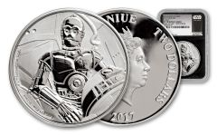 2017 Niue 1-oz Silver Star Wars Classic C-3PO NGC PF70UCAM First Struck - Black