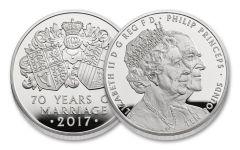 2017 Great Britain 10 Pound 5-oz Silver 70th Wedding Anniversary Proof