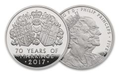 2017 Great Britain 25 Pound 1/4-oz Platinum 70th Wedding Anniversary Piedfort Proof OGP