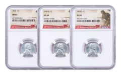 1943-PDS 1 Cent Lincoln Steel NGC MS66 Set