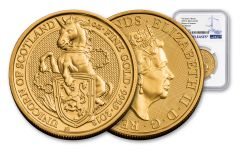 2018 Great Britain 1-oz 100 Pound Gold Queen's  Beasts Unicorn MS69- First Releases