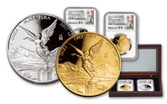 2017 Mexico 1-oz Gold and Silver Libertad NGC PF70- 2pc 35th Anniversary