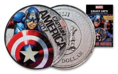 2017 Fiji 50 Cent Silver Plated Clad Captain America Light Up Specimen - Marvel Series