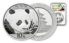 2018 China 30 Gram Silver Panda NGC MS69 First Day Of Issue - White