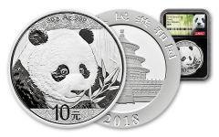 2018 China 30 Gram Silver Panda NGC Gem First Release - Black