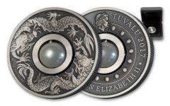 2017 Australia 1 Dollar 1-oz Silver Dragon and Peal Antiqued