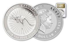 2018 Australia 1 Dollar 1-oz Silver Kangaroo Bullion NGC MS70 First Releases - White