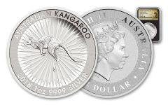 2018 Australia 1 Dollar 1-oz Silver Kangaroo Bullion NGC MS70 First Releases - Black