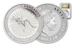 2018 Australia 1 Dollar 1-oz Silver Kangaroo Bullion NGC MS70 - White