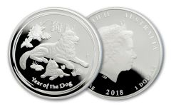 2018 Australia $1 Year of the Dog Shepherd 1 Ounce Silver Proof