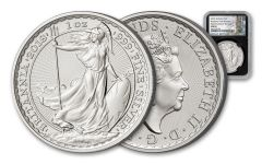 2018 Great Britain 1-oz Silver Britannia NGC MS69 First Releases - Black