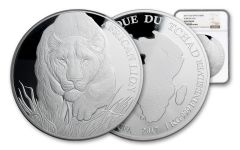 2017 Chad 150,000 Francs Kilo Silver African Lion NGC Gem Proof