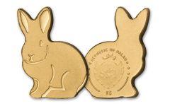 Palau 1 Dollar 1/2 Gram Golden Rabbit Brilliant Uncirculated